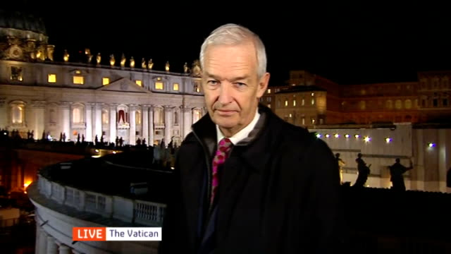 new pope elected pope francis italy rome vatican city st peter's square lights*** reporter to camera - pope stock videos & royalty-free footage
