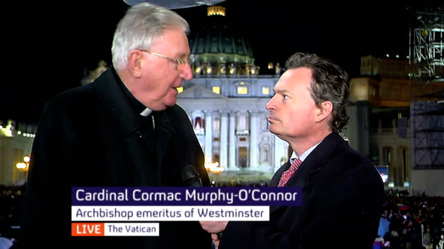 new pope elected pope francis italy rome vatican city st peter's square cardinal cormac murphyo'connor live interview sot new pope is humble gentle... - st peter's square stock videos & royalty-free footage