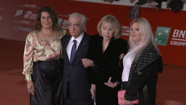 """cathy scorsese, martin scorsese, helen morris, francesca scorsese attends """"the irishman"""" red carpet during the 14th rome film festival on october 21,... - martin scorsese stock videos & royalty-free footage"""