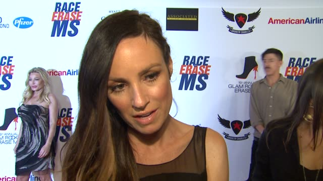 catt sadler on being a part of the night her glam rock attire walking in the show and how she's been preparing for tonight at 19th annual race to... - race to erase ms stock videos and b-roll footage