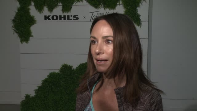 interview catt sadler on the event at behindthescenes at kohl's x studio tone it up workout event at barker hangar in santa monica ca january 13 2018 - kohls stock videos & royalty-free footage