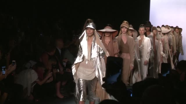 a catwalk show by nicholas k inspired by bedouin culture and desert life officially kicked off new york fashion week on thursday as the industry... - fashion industry stock videos & royalty-free footage