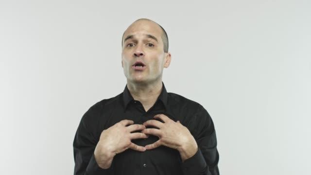 caucasian adult salesman oathing at camera - spokesman stock videos & royalty-free footage
