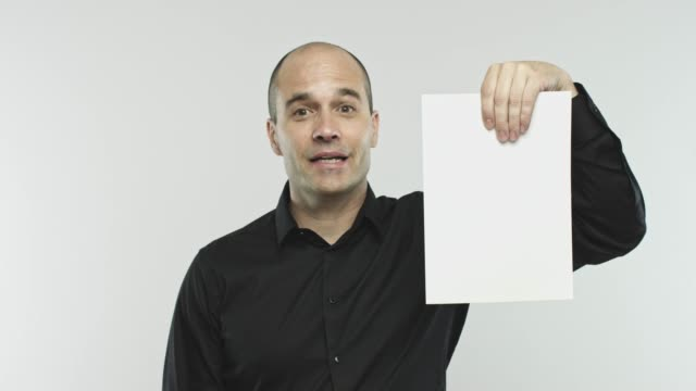 caucasian adult speaker with blank sheet - spokesman stock videos & royalty-free footage