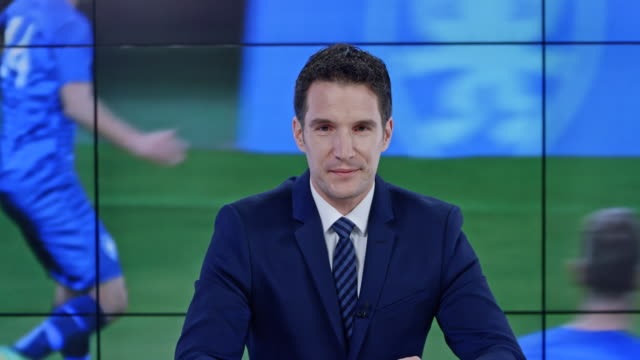 ld caucasian anchorman presenting the latest sport news - broadcasting stock videos & royalty-free footage