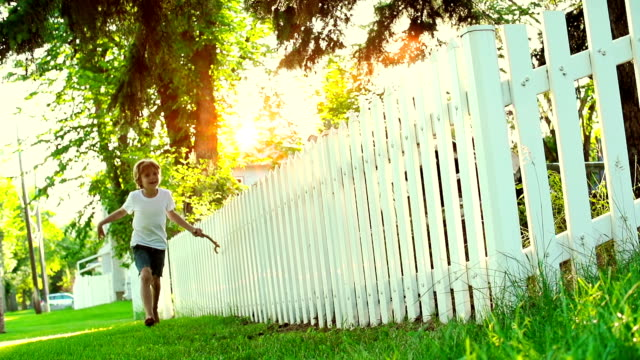 caucasian boy experiences summer freedom - picket fence stock videos and b-roll footage