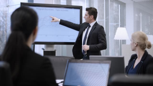 caucasian business man explaining the charts on the display to his colleagues at a meeting in the conference room - full suit stock videos & royalty-free footage