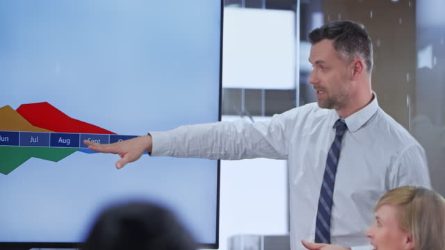 vídeos de stock, filmes e b-roll de homem de negócios caucasiano segurando uma apresentação para seus colegas na sala de conferências - governo