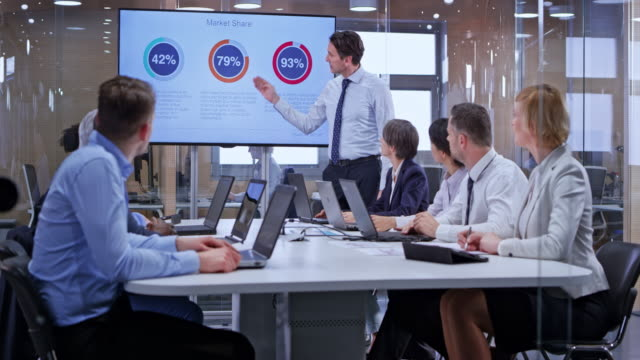 ds caucasian business man holding a presentation for his team in the glass conference room - business video stock e b–roll
