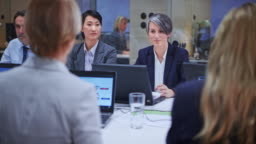 Caucasian business woman with grey hair leading a meeting in the conference room