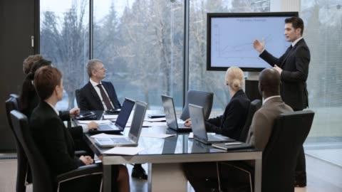 kaukasiska affärsman leder en presentation i mötesrummet - samling bildbanksvideor och videomaterial från bakom kulisserna