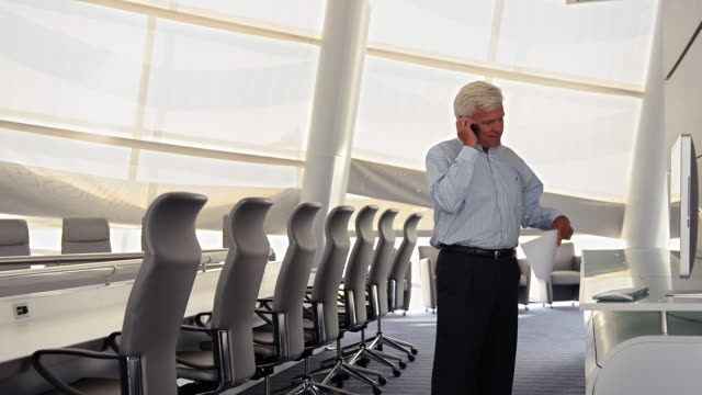 Caucasian businessman reading paperwork and talking on cell phone
