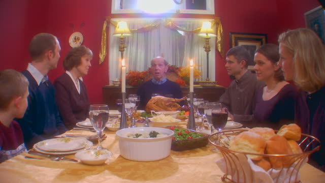 Caucasian family Thanksgiving, slow motion