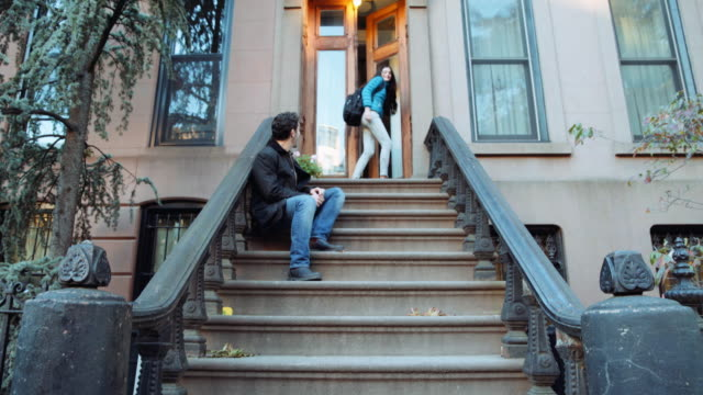 caucasian father chasing playful daughter on sidewalk - front stoop stock videos and b-roll footage