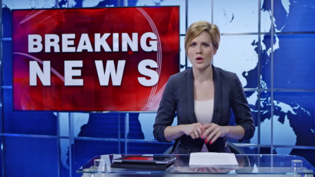 ld  caucasian female anchor presenting breaking news - breaking news stock videos and b-roll footage