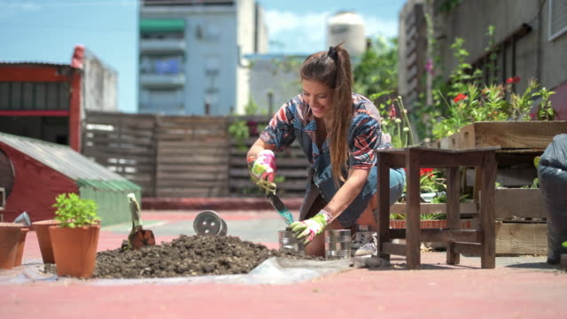 caucasian female gardener filling can with soil for planting - agricultural activity stock videos & royalty-free footage