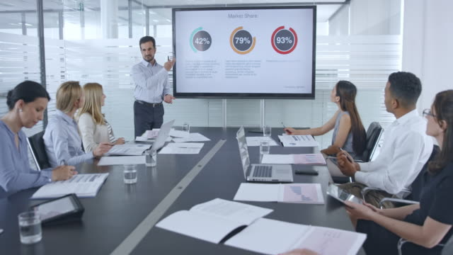 caucasian man giving a financial presentation to his colleagues in the team sitting in the conference room - sala conferenze video stock e b–roll