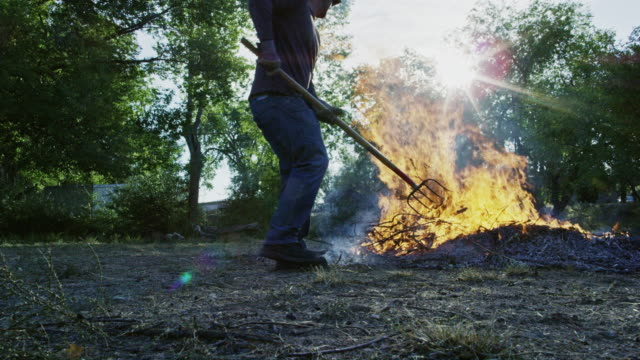 a caucasian man in his forties throws wooden sticks and branches on to a large flaming burn pile with a pitchfork outdoors - pitchfork stock videos & royalty-free footage