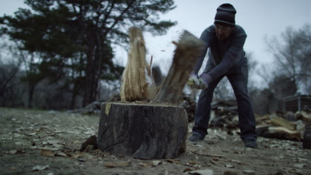 a caucasian man in his forties with a knit hat and safety glasses chops a wooden log in half for firewood with an axe surrounded by trees outside at dusk on a cloudy day - chopped stock videos & royalty-free footage