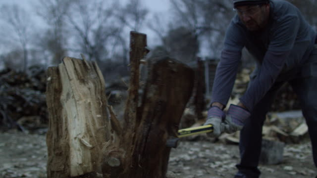 a caucasian man in his forties with a knit hat and safety glasses chops a wooden log in half for firewood with an axe surrounded by trees outside at dusk on a cloudy day - lumberjack stock videos & royalty-free footage