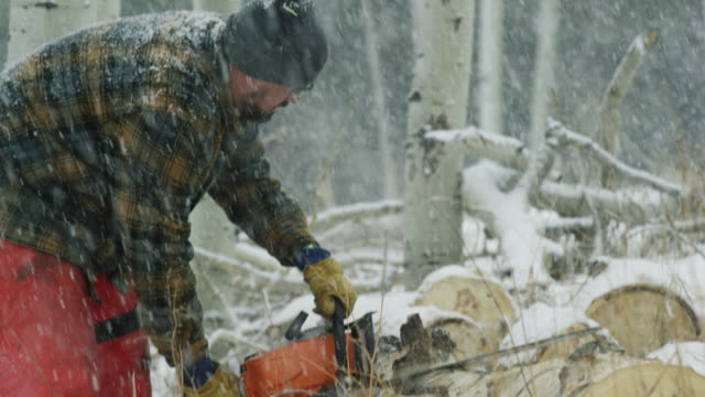 a caucasian man in his thirties with a beard cuts a wooden aspen log with a chainsaw on a snowy winter day in the forest - cappotto invernale video stock e b–roll
