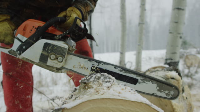 vídeos de stock e filmes b-roll de a caucasian man in his thirties with a beard picks up a chainsaw and cuts a wooden aspen log on a snowy winter day in the forest and then walks away - perigo