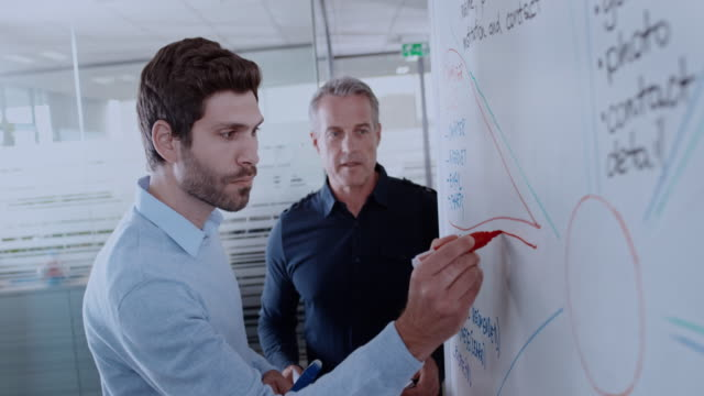 caucasian man writing a diagram on the whiteboard and talking to his male coworker - image focus technique stock videos & royalty-free footage