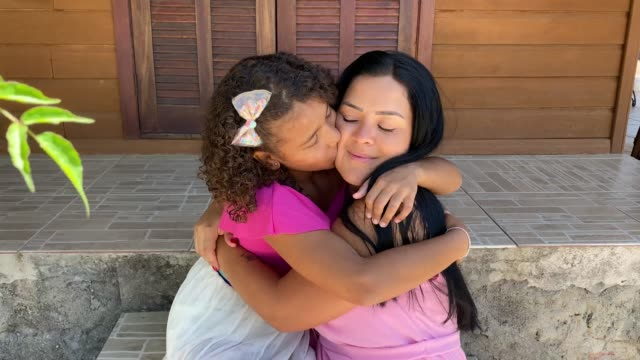 caucasian mother and afro daughter - human head stock videos & royalty-free footage