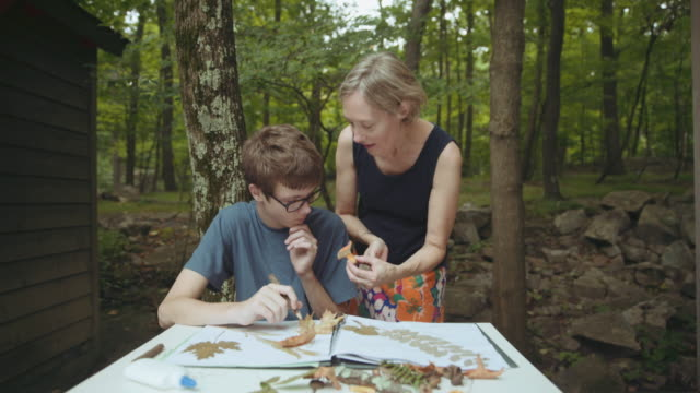 Caucasian mother and son with nature scrapbook at lake home