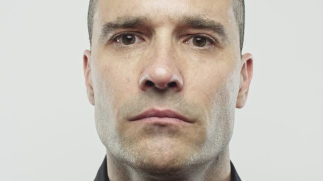 caucasian real man looking at camera - balding stock videos & royalty-free footage