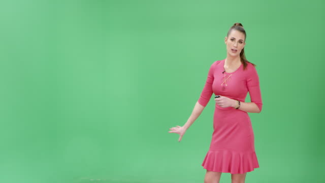 caucasian weather girl presenting the weather forecast - presenter stock videos & royalty-free footage