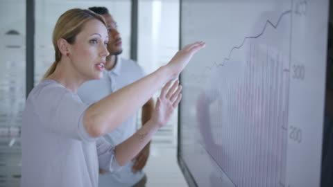 kaukasiska kvinna diskuterar ett finansiella diagram på skärmen i mötesrum med hennes afroamerikanska kollega - planering bildbanksvideor och videomaterial från bakom kulisserna