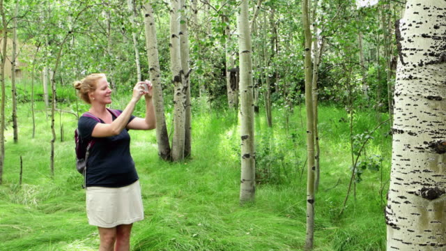 caucasian woman photographing in forest - skirt stock videos & royalty-free footage