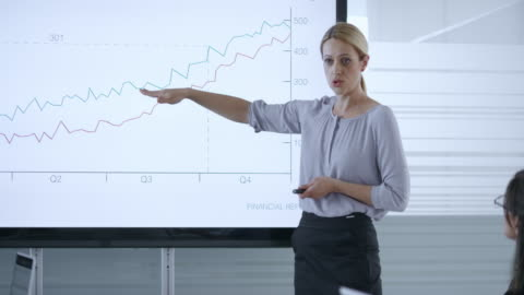 caucasian woman taking notes while listening to female colleague giving a financial presentation - leadership stock videos & royalty-free footage