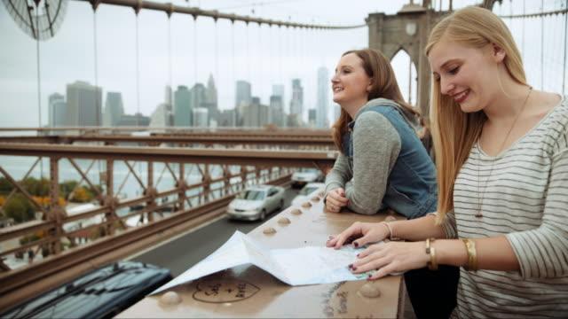 Caucasian women reading map for sightseeing on bridge