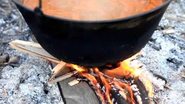 Cauldron with soup.