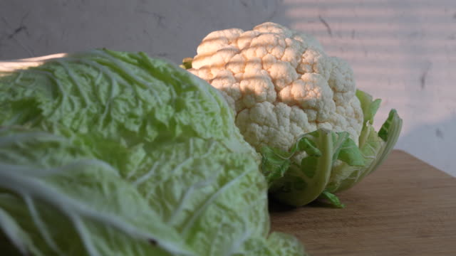 cauliflower and chinese cabbage - cauliflower stock videos & royalty-free footage