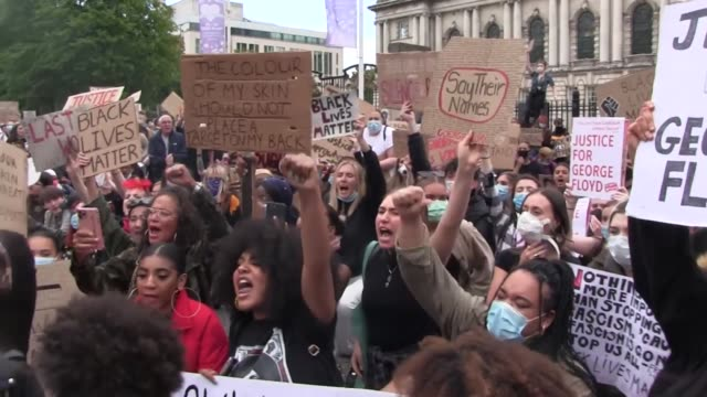 footage contains swearing. people participate in a black lives matter protest rally march through donegall square in belfast, in memory of george... - ireland stock videos & royalty-free footage