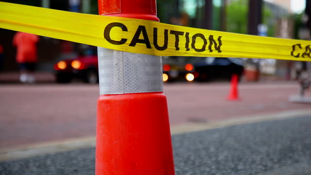 Caution safety tape. Road reconstruction