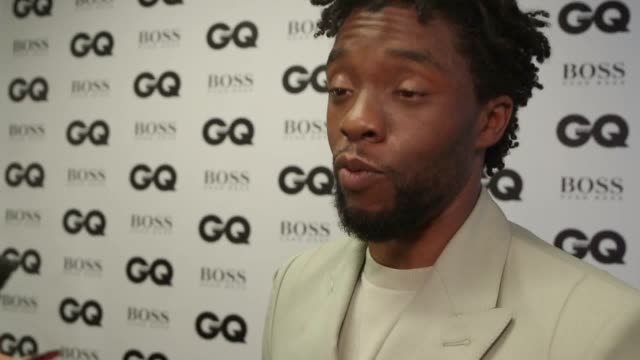 *caution strong language* chadwick boseman james norton and rose mcgowan speak in the winners' room at the gq men of the year awards in london me too... - chadwick boseman stock videos and b-roll footage