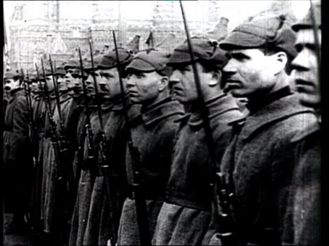 1921 b/w ms cavalry troops standing in line during bolshevik parade for anniversary of russian revolution/ moscow, russia - russia stock videos & royalty-free footage