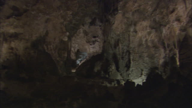 ms, pan, cave interior, carlsbad caverns national park, new mexico, usa - stalagmite stock videos and b-roll footage