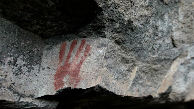 cave paiting, patagonia. - cave painting stock videos & royalty-free footage