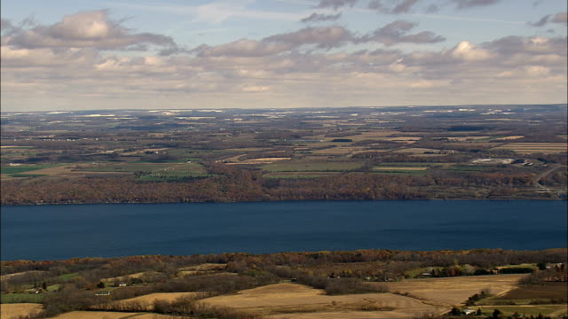 cayuga lake - aerial view - new york,  tompkins county,  united states - cayuga stock videos & royalty-free footage