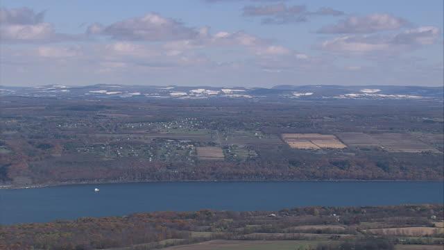 aerial cayuga lake and the surrounding farmland / new york, united states - cayuga stock videos & royalty-free footage