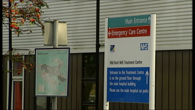 chairman of maidstone and tunbridge wells nhs trust resigns sign outside mid kent nhs treatment centre exterior of hospital building - maidstone hospital stock videos and b-roll footage