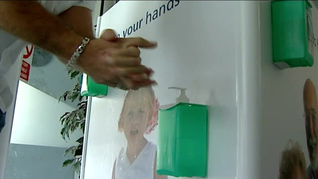 cdifficile outbreak in maidstone and tunbridge wells hospitals 90 lose their lives maidstone hospital man washing hands with cleansing gel outside... - maidstone hospital stock videos and b-roll footage
