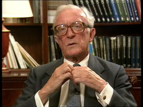 stockvideo's en b-roll-footage met ec ceasefire breaking down england london cms lord carrington intvwd sof enterprise' / hope that bad violence will stop / real problem comes over... - peter carington