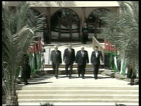 ceasefire declared by palestinian groups lib us president george w bush with palestinian pm mahmoud abbas and israeli pm ariel sharon at summit - ariel sharon stock videos and b-roll footage