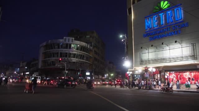 Cebu city Colon street at night b-roll, Philippines